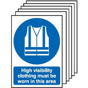 210x148mm High Visibility Clothing Must Be Worn In This Area  - Rigid Pk of 6