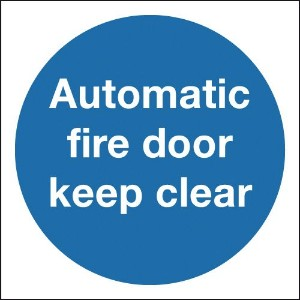 200x200mm Automatic Fire Door Keep Clear - Self Adhesive