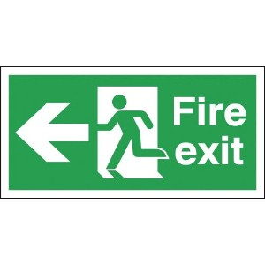 150x300 Fire Exit Running Man Arrow Left - Self Extinguishing
