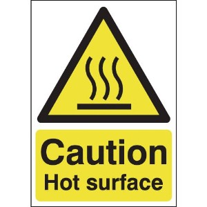 100x75mm Caution Hot Surface - Magnetic