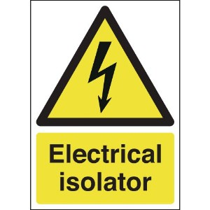 210x148mm Electrical Isolator - Self Adhesive