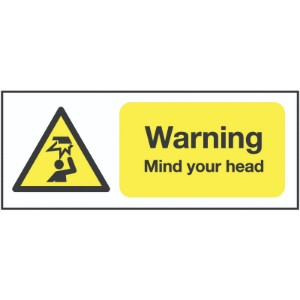 297x210mm Warning Mind Your Head - Self Adhesive