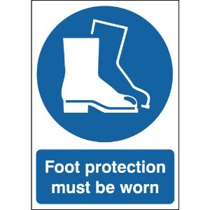 210x148mm Foot Protection Must Be Worn - Self Adhesive