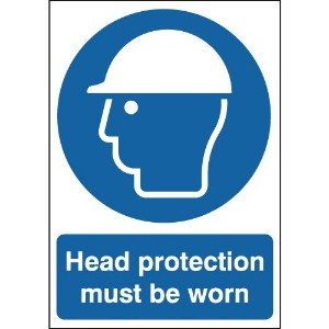 210x148mm Head Protection Must Be Worn - Rigid