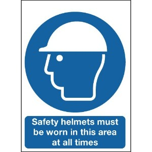400x300mm Safety Helmets Must Be Worn In This Area At All Times - Polycarbonate