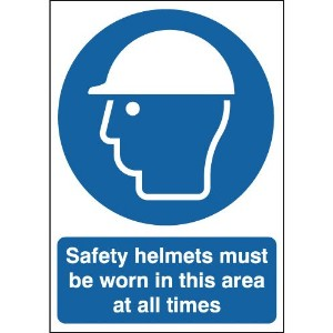 297x210mm Safety Helmets Must Be Worn In This Area At All Times - Rigid