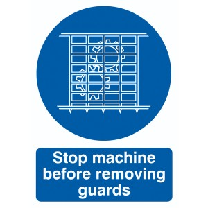 70x50mm Stop Machine Before Removing Guards - Self Adhesive