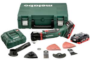 Metabo MT 18 LTX Multitool, Case, 2 x 18V 2.0Ah Li-ion, ASC30-36V Charger + Accessories, Carry case