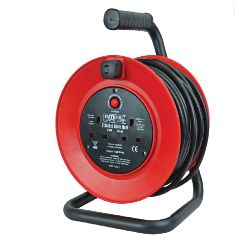 25m 240V Cable Reels Extension Lead - 13AMP