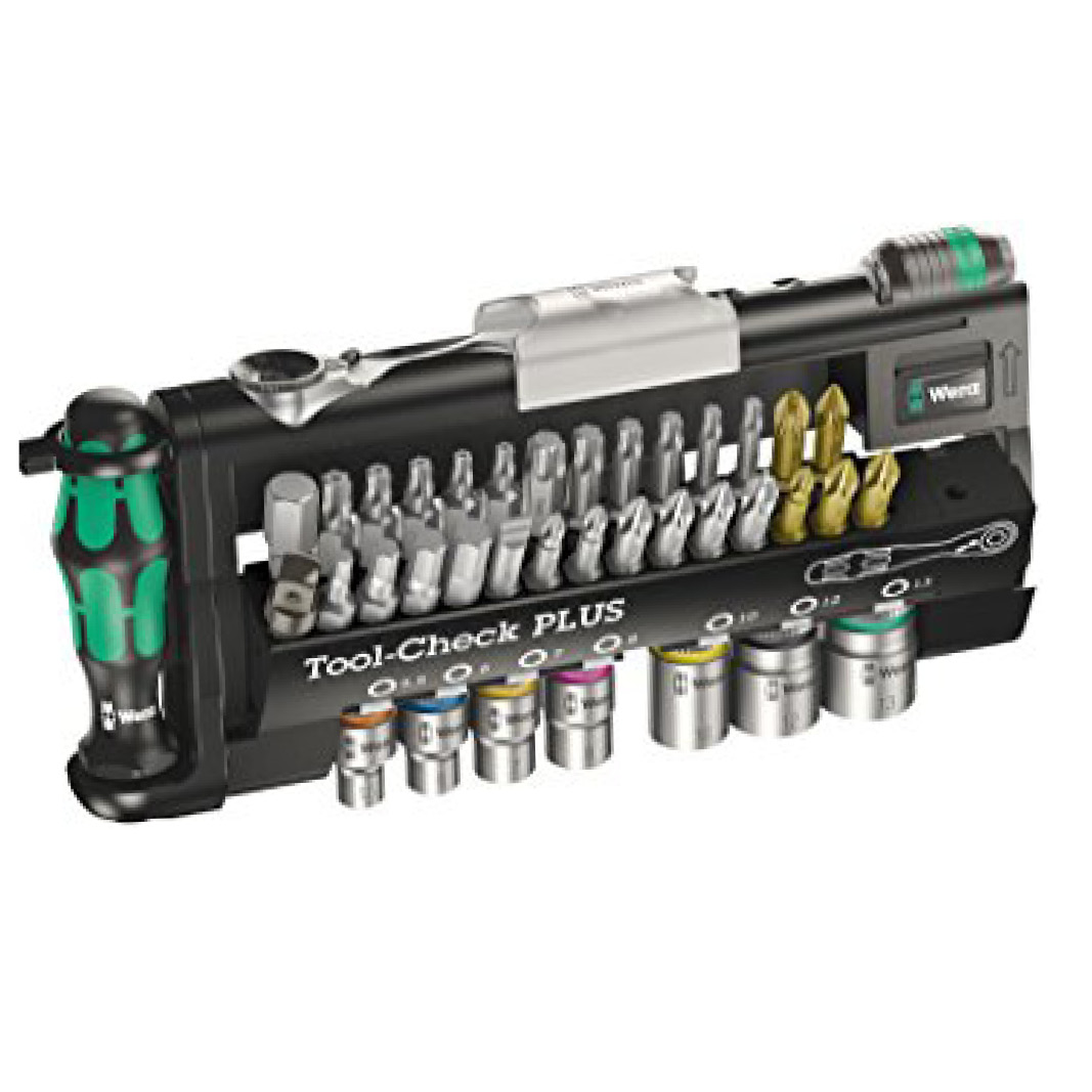 39 Piece WERA Tool-Check Plus Ratchet Screwdriver Bit and Socket Kit