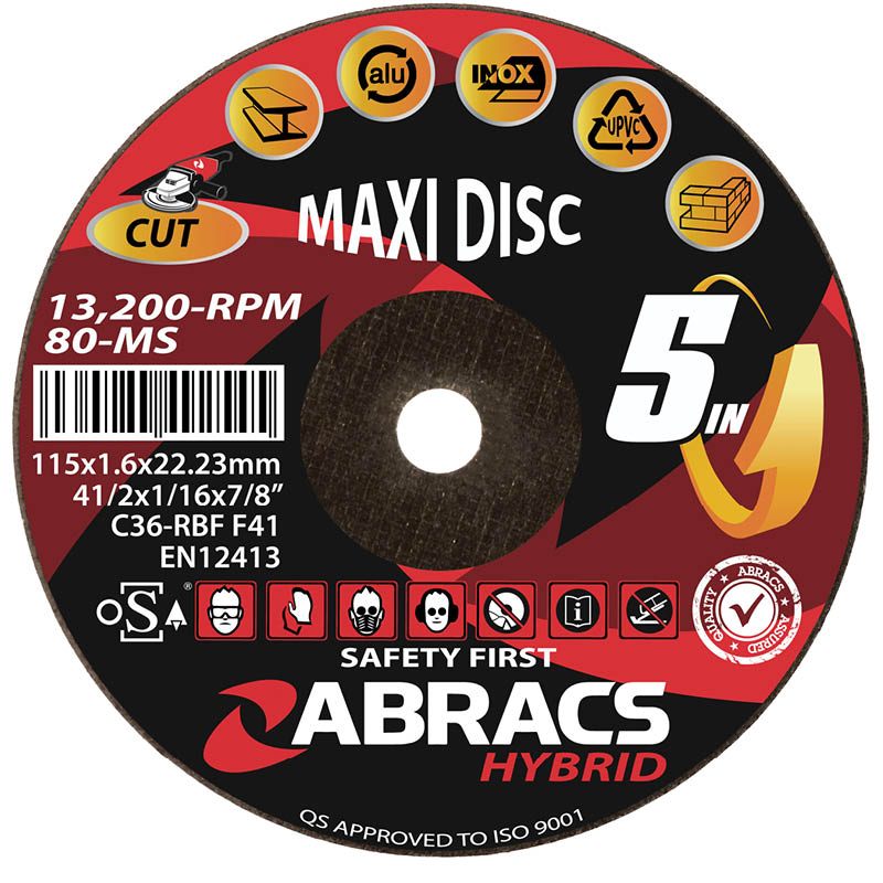 115x1.6x22mm Hybrid 5 In 1 Maxi Abrasive Cutting Disc Flat