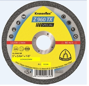 115x1.0mm Klingspor Z960TX SPECIAL Metal Cutting Disc Flat