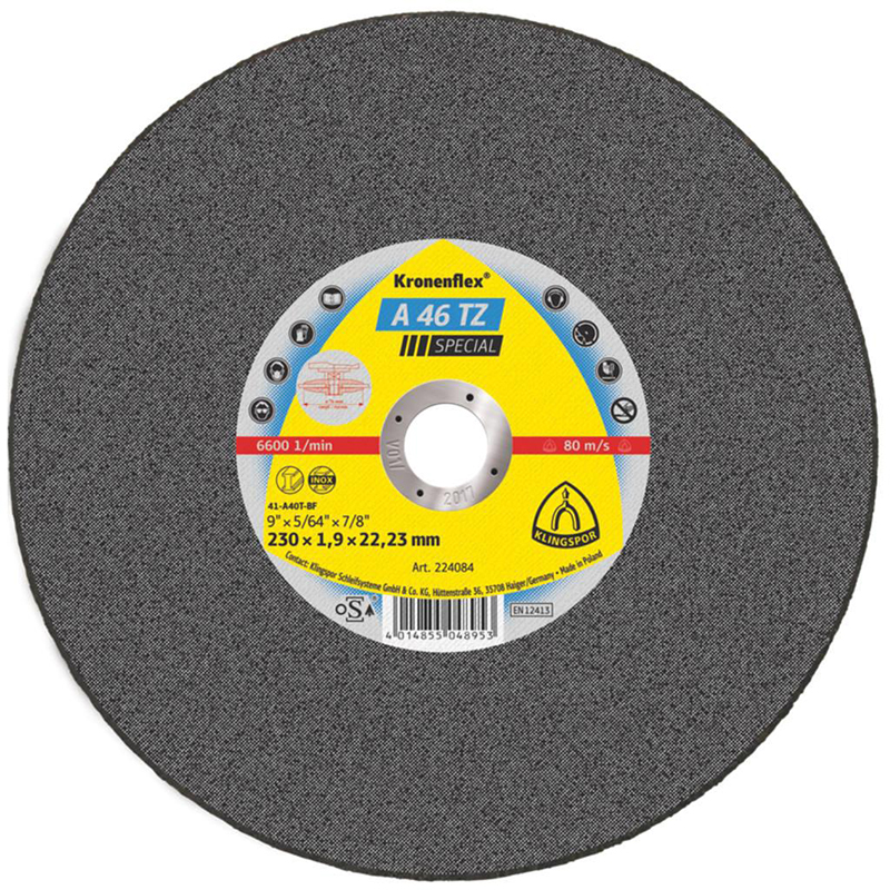 300x3.5 22mm bore KLINGSPOR Brand A 24 EX Metal Cutting Disc Flat - 288221