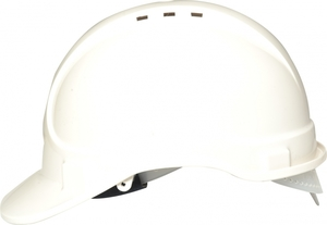 White Vented Safety Helmet - Webbing Harness Comfort Type