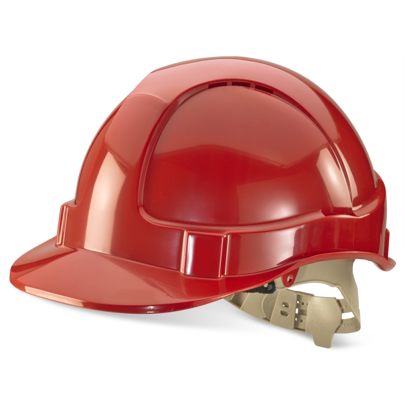 Red Vented Safety Helmet - Webbing Harness Comfort Type