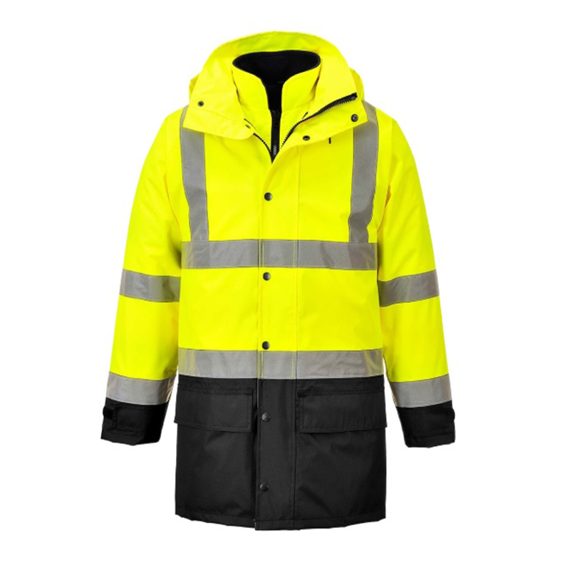 L Yellow/Navy Hi-Vis 300D Executive Contrast 5in1 Traffic Jacket S768