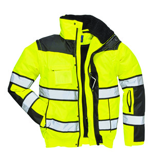 M Yellow/Black Hi-Vis 300D Classic Contrast High Quality 3in1 Bomber Jacket C466