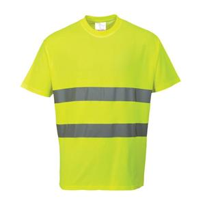 S Yellow Hi-Vis Round Neck Short Sleeved T-Shirts