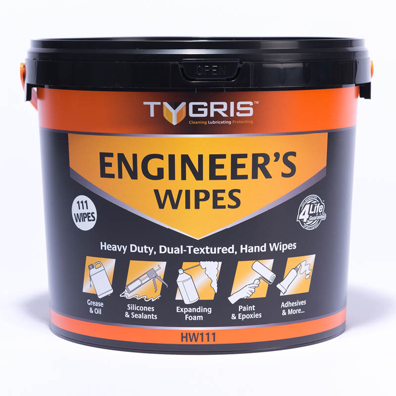 Tygris Engineers Dual Texture Wipes - Bucket of 110 wipes