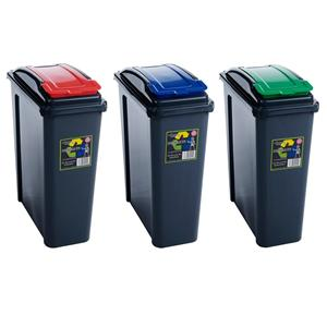 25 Litre Plastic Recycling Bins Set of 3 Bins