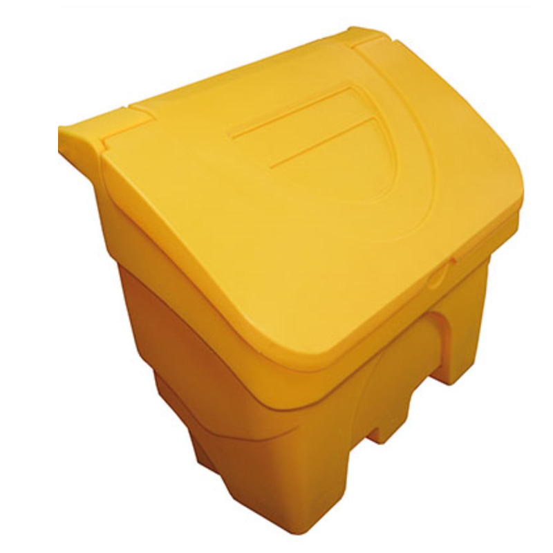130 Litre Yellow Plastic Salt/Grit Bin with flap Lid