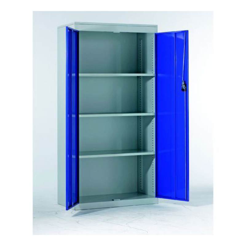 1830 x 915 x 457mm Grey Shell/Blue Doors Standard Metal Cabinet Cupboard with 3 Shelves. Extra Shelves see Z810-001