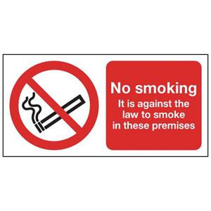 150x300mm No Smoking It Is Against The Law- Rigid
