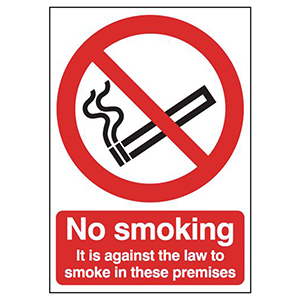 210x148mm No Smoking It Is Against The Law - Self Adhesive