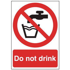 210x148mm Self Adhesive Do Not Drink Sign