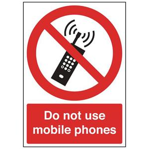 297x210mm Do Not Use Mobile Phones - Rigid