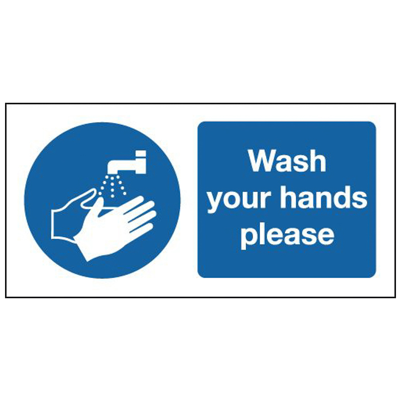 100x250mm Wash Your Hands Please - Self Adhesive