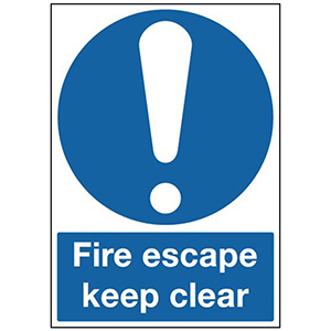 210x148mm Self Adhesive Fire Escape Keep Clear Sign