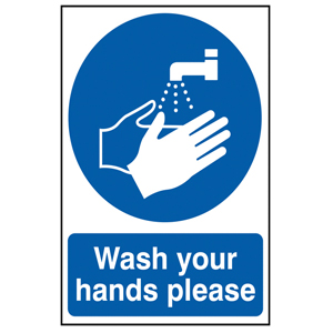 210x148mm Self Adhesive Now Wash Hands Sign