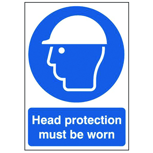 297x210mm Head Protection Must Be Worn - Self Adhesive