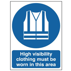 297x210mm High Visibility Clothing Must Be Worn In This Area - Rigid