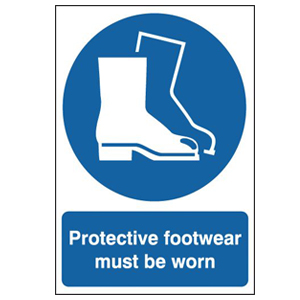 297x210mm Protective Footwear Must Be Worn - Rigid
