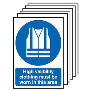 420x297mm High Visibility Clothing Must Be Worn In This Area  - Rigid Pk of 6