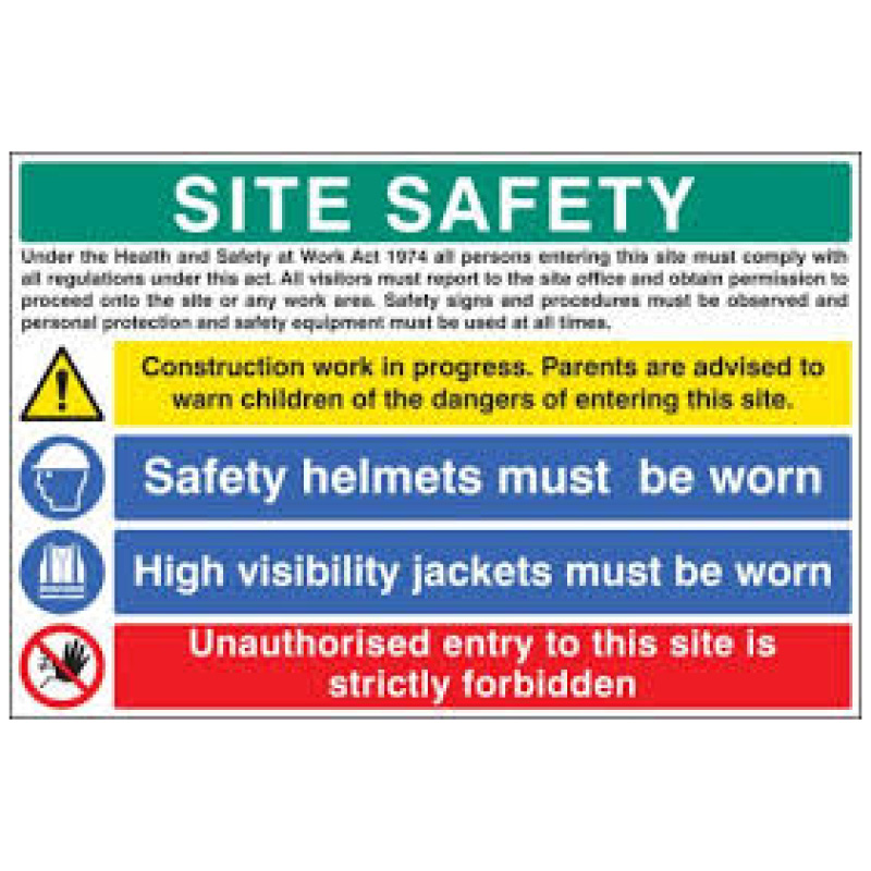 600x900mm SITE SAFETY Danger and Instructions Sign - Rigid