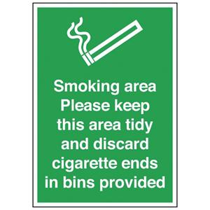 297x210mm Smoking Area Please Keep This Area Tidy - Rigid