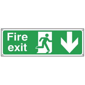150x300mm Fire Exit Running Man Arrow Down - Aluminium