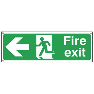 150x300mm Fire Exit Running Man Arrow Left - Aluminium