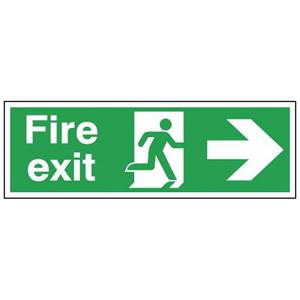 150x450mm Fire exit right Reflective sign - Double sided
