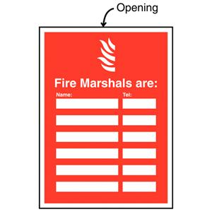 327x240mm Fire Marshals Are (Name & Telephone no) Insert Sign