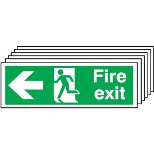 150x450mm Fire Exit Running Man Arrow Left - Self Adhesive Pk of 6