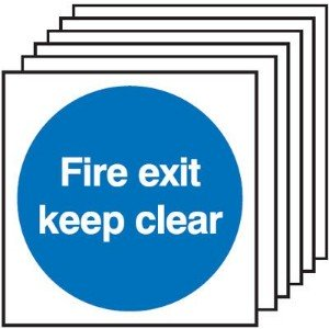 150x150mm Fire Exit Keep Clear - Rigid Pk of 6