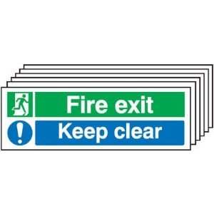 150x450mm Fire Exit Keep Clear - Rigid Pk of 6