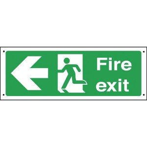 150x450mm Fire exit arrow left Vandal resistant sign