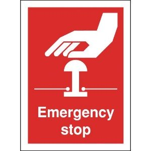 100x75mm Emergency Stop - Rigid