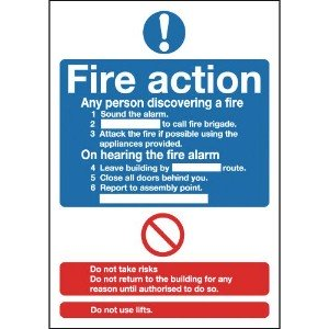 210x148mm Fire Action Notice (Standard) - Face Adhesive Vinyl
