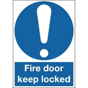 100x75mm Fire Door Keep Locked - Rigid